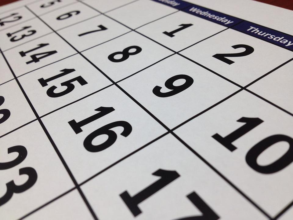 Le calendrier de travail 2018